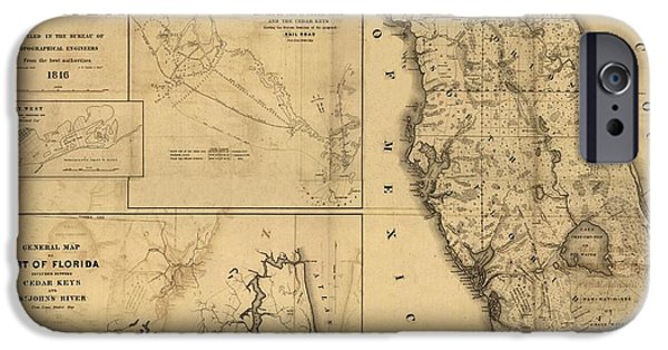 Old Map Digital iPhone Cases - Florida Map Art - Vintage Antique map of Florida iPhone Case by World Art Prints And Designs