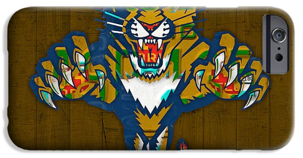 Hockey Mixed Media iPhone Cases - Florida Panthers Hockey Team Retro Logo Vintage Recycled Sunshine State License Plate Art iPhone Case by Design Turnpike