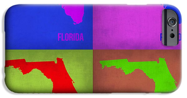 Home iPhone Cases - Florida Pop Art Map 1 iPhone Case by Naxart Studio