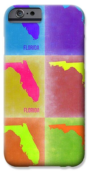 Miami Digital Art iPhone Cases - Florida Pop Art Map 2 iPhone Case by Naxart Studio