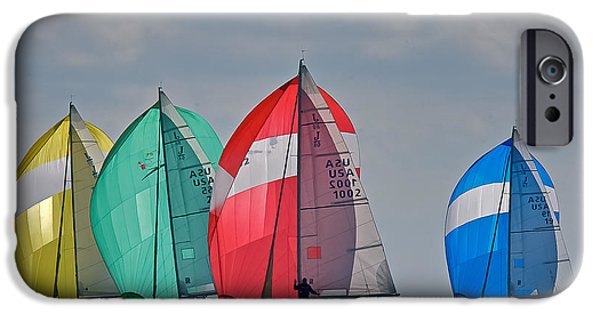 Sailboat Ocean iPhone Cases - Florida Spinnakers iPhone Case by Steven Lapkin