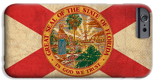 Universities Mixed Media iPhone Cases - Florida State Flag Art on Worn Canvas iPhone Case by Design Turnpike