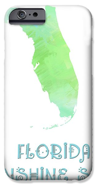 Florida - Sunshine State - Map - State Phrase - Geology iPhone Case by Andee Design