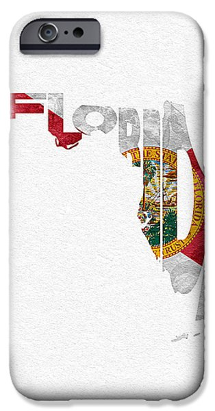 Rust Pastels iPhone Cases - Florida Typographic Map Flag iPhone Case by Ayse Deniz