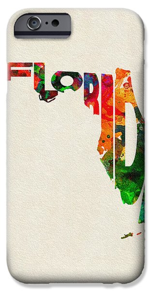 Original Watercolor iPhone Cases - Florida Typographic Watercolor Map iPhone Case by Ayse Deniz