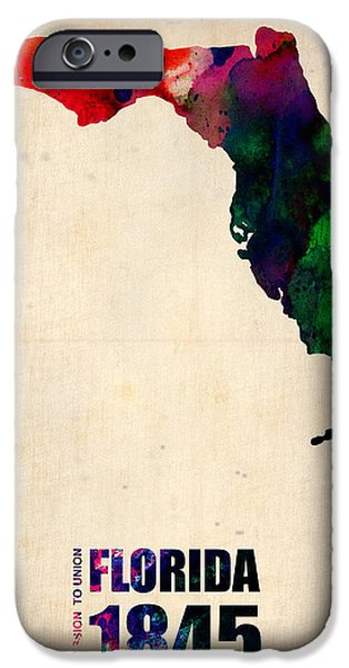 Decoration iPhone Cases - Florida Watercolor Map iPhone Case by Naxart Studio