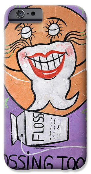 Nurse iPhone Cases - Flossing Tooth iPhone Case by Anthony Falbo