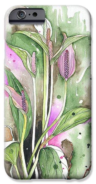 Flower Anthurium 03 Elena Yakubovich iPhone Case by Elena Yakubovich
