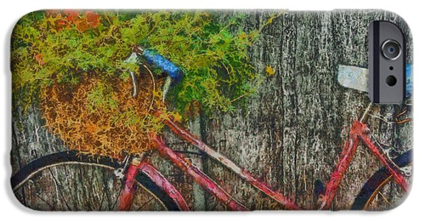 Shed Mixed Media iPhone Cases - Flower basket on a bike iPhone Case by Mark Kiver