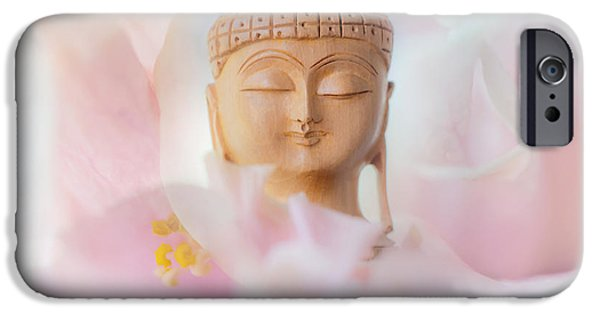 Inner World iPhone Cases - Flower Buddha 3 iPhone Case by Jenny Rainbow