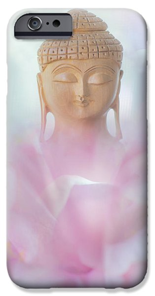 Inner World iPhone Cases - Flower Buddha iPhone Case by Jenny Rainbow