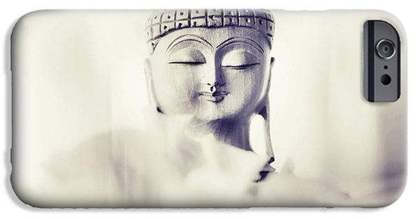 Inner World iPhone Cases - Flower Buddha. Monochrome iPhone Case by Jenny Rainbow