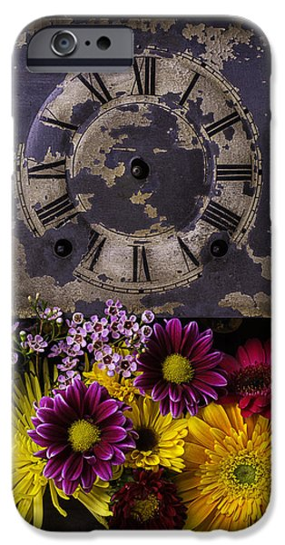 Chip iPhone Cases - Flower Clock iPhone Case by Garry Gay