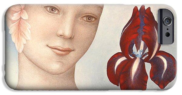 Spiritual Portrait Of Woman iPhone Cases - Flower Fairy iPhone Case by Judith Grzimek