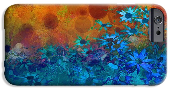 Floral Digital Art Digital Art iPhone Cases - Flower Fantasy in Blue and Orange  iPhone Case by Ann Powell