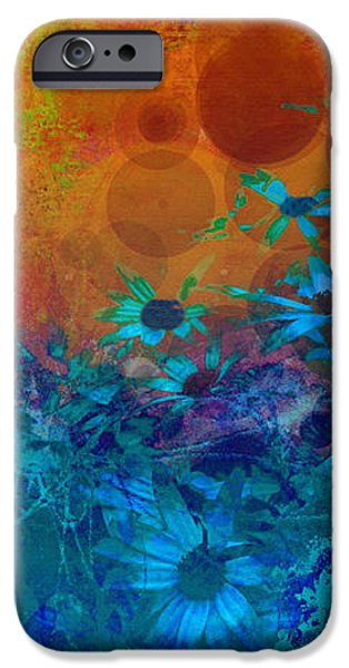 Flower Fantasy in Blue and Orange  iPhone Case by Ann Powell