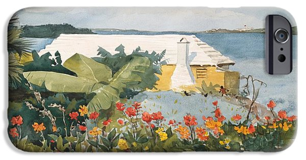 Winslow Homer iPhone Cases - Flower Garden and Bungalow iPhone Case by Celestial Images