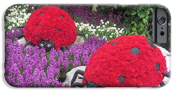 Christmas Greeting iPhone Cases - Flower Garden LADYbug Purple White I iPhone Case by Navin Joshi