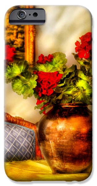 Red Geraniums iPhone Cases - Flower - Geraniums on a table  iPhone Case by Mike Savad