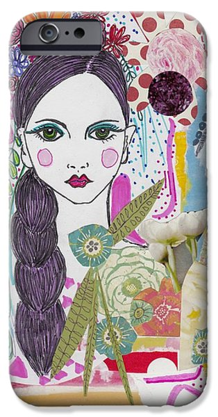 Watercolor With Pen Mixed Media iPhone Cases - Flower Girl Collage iPhone Case by Rosalina Bojadschijew