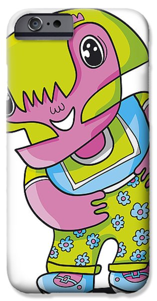 Flower Girl Doodle Character iPhone Case by Frank Ramspott