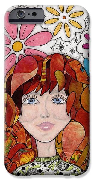 Abstract Collage Drawings iPhone Cases - Flower girl iPhone Case by Paula Dickerhoff