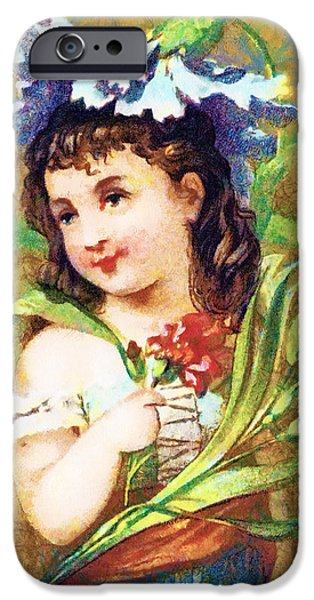 Puppy Digital iPhone Cases - Flower Girl iPhone Case by Vintage Trading Cards