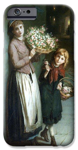 Flower Girls a Summer Night iPhone Case by Augustus Edwin Mulready