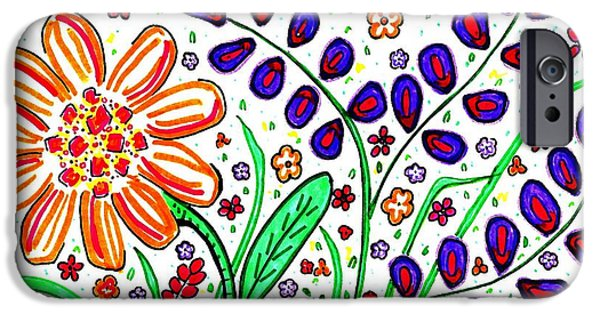 Joyful Drawings iPhone Cases - Flower Joy iPhone Case by Sarah Loft