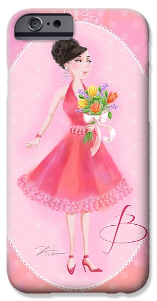 Lady Mixed Media iPhone Cases - Flower Ladies-Belle iPhone Case by Shari Warren