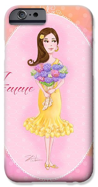 Lady Mixed Media iPhone Cases - Flower Ladies-Femme iPhone Case by Shari Warren