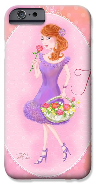 Lady Mixed Media iPhone Cases - Flower Ladies-Jolie iPhone Case by Shari Warren