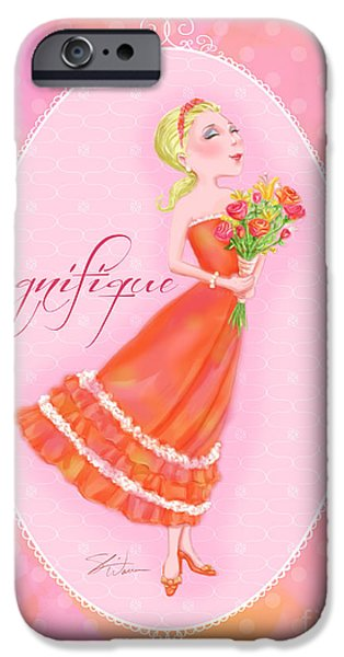 Lady Mixed Media iPhone Cases - Flower Ladies-Magnifique iPhone Case by Shari Warren