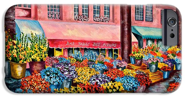 Garden Scene Paintings iPhone Cases - Flower market in Nice France iPhone Case by Jan Law