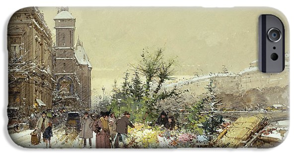 Snowy Day Paintings iPhone Cases - Flower Market Marche aux Fleurs iPhone Case by Eugene Galien-Laloue