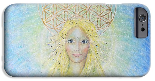 Spiritual Portrait Of Woman iPhone Cases - Flower Of Life Angel iPhone Case by Lila Violet