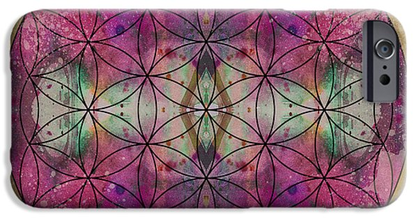 Flower Of Life Digital Art iPhone Cases - Flower of Life iPhone Case by Filippo B