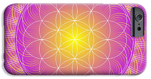 Flower Of Life Digital Art iPhone Cases - Flower of Life iPhone Case by Sarah  Niebank