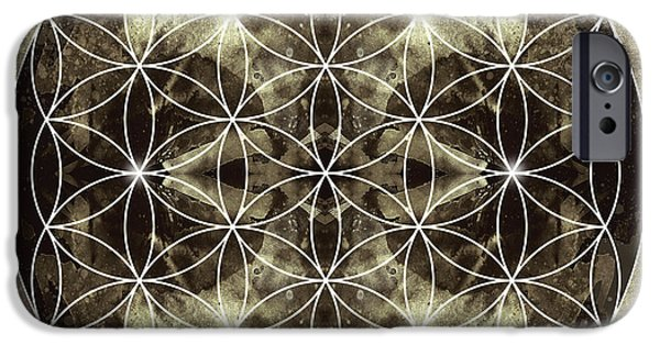 Mandalas iPhone Cases - Flower of Life Silver iPhone Case by Filippo B