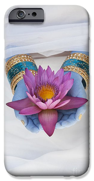 Indian Girl iPhone Cases - Flower Offering iPhone Case by Tim Gainey