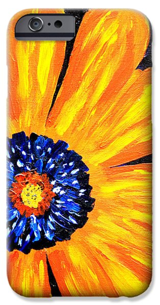 Abstract Sunflower iPhone Cases - Flower Power 2 iPhone Case by Paul Anderson
