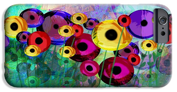 Ann Powell iPhone Cases - Flower Power abstract art  iPhone Case by Ann Powell