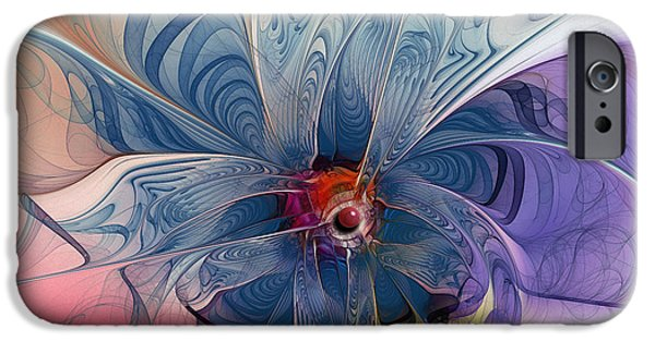 Tender iPhone Cases - Flower Power-Fractal Art iPhone Case by Karin Kuhlmann