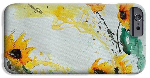 Ismeta iPhone Cases - Flower Power- Sunflower iPhone Case by Ismeta Gruenwald