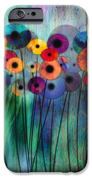 Ann Powell iPhone Cases - Flower Power Three iPhone Case by Ann Powell