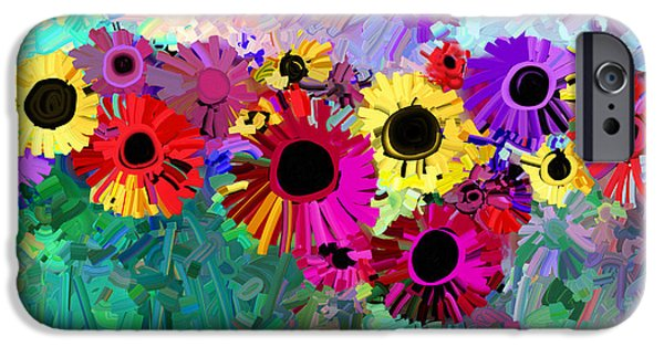 Annpowellart iPhone Cases - Flower Power Two iPhone Case by Ann Powell