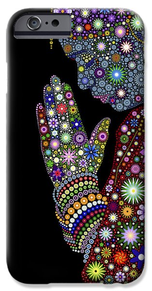 Abstract Flowers iPhone Cases - Flower Prayer girl iPhone Case by Tim Gainey