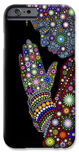 Contemplation iPhone Cases - Flower Prayer girl iPhone Case by Tim Gainey