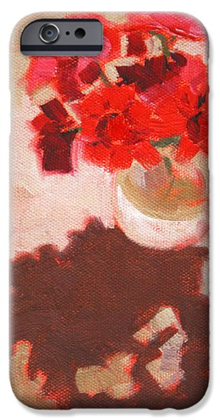 Red Geraniums iPhone Cases - Flower Shadows Still Life iPhone Case by Nancy Merkle