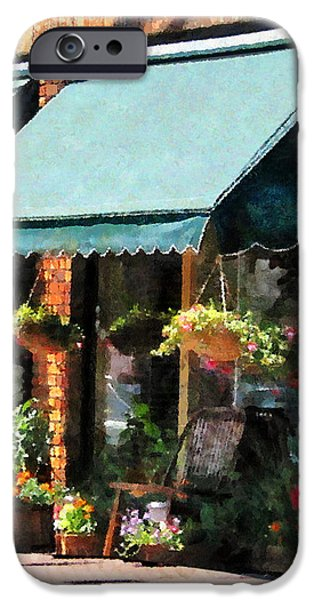 Flower Shop With Green Awnings iPhone Case by Susan Savad